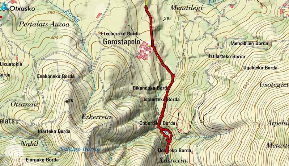 casa rural ecológica Kaaño etxea - Baztan-Gorostapolo -mapa Xorroxin