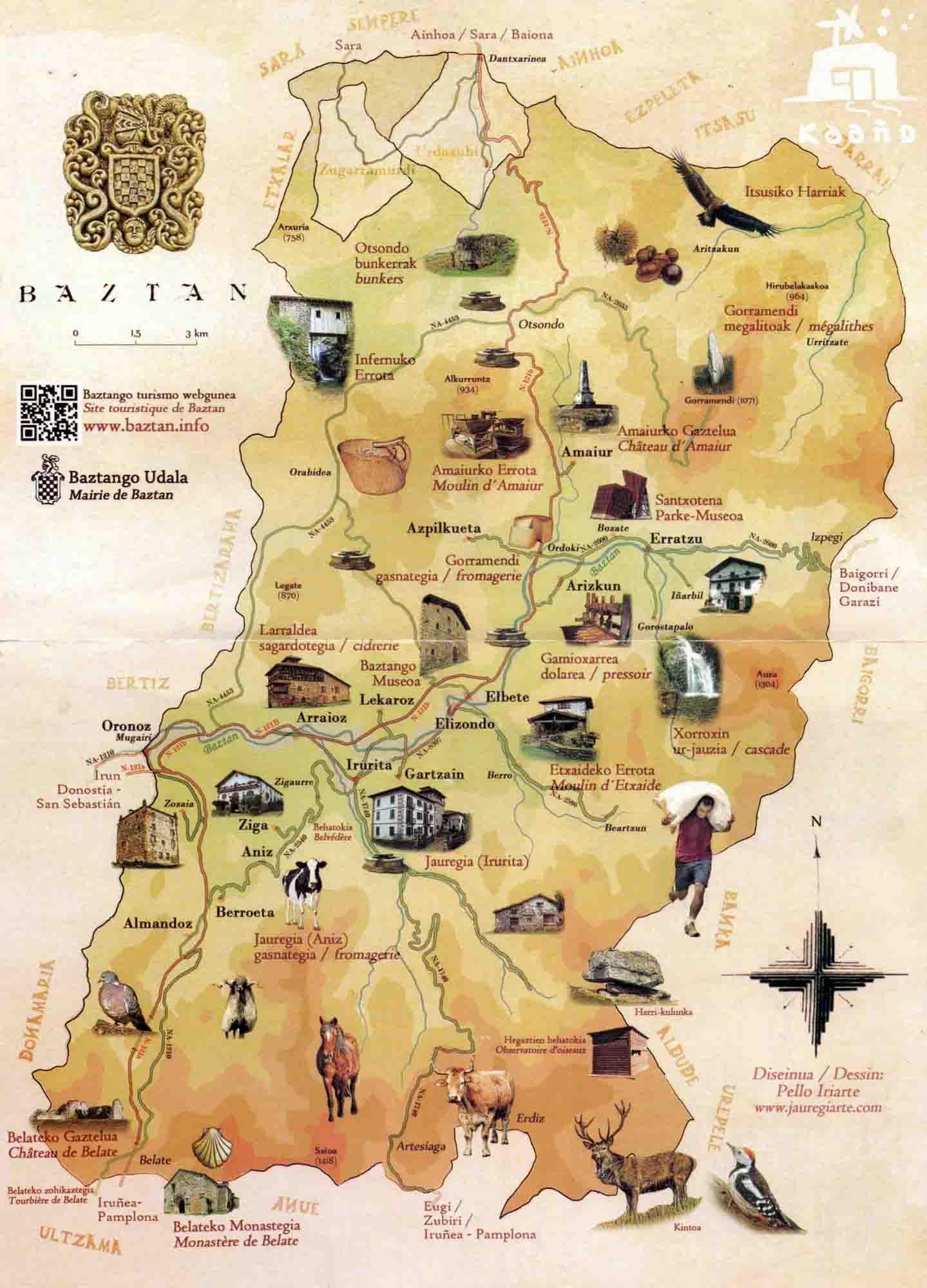 casa rural ecológica Kaaño etxea - mapa recursos Baztán por sus pueblos : Almandoz Berroeta, Aniz,Ziga Oronoz Mugaire, Arraioz, Lekaroz Irurita, Gartzain, Elizondo, Elbetea, Apikuleta, Arizkun, Errazu, Gorostapalo, Amaiur, Urdax, Zugarramurdi, Urdazubi