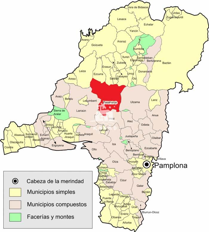 merindad de Pamplona y valle de Basaburua en Navarra