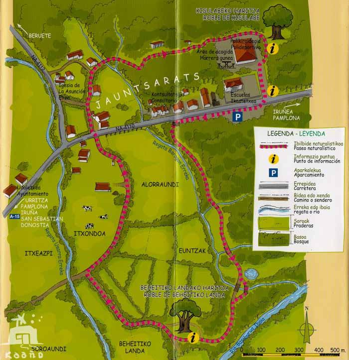 mapa Robles Jauntsarats - Basaburua - Navarra